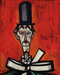 Clown au chapeau noir fond rouge
